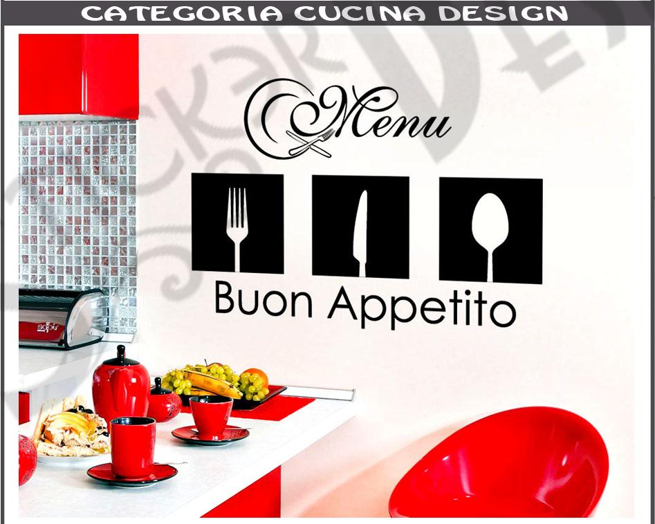 Wall Stickers Adesivi Murali Cucina Men Menu Buon Appetito Posate Moderno
